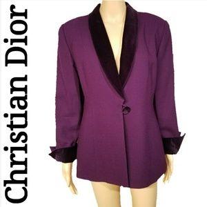 Christian Dior Vintage Velvet Collar Plum Blazer